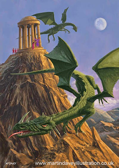 Dragons flying around a temple on mountain top-digital painting