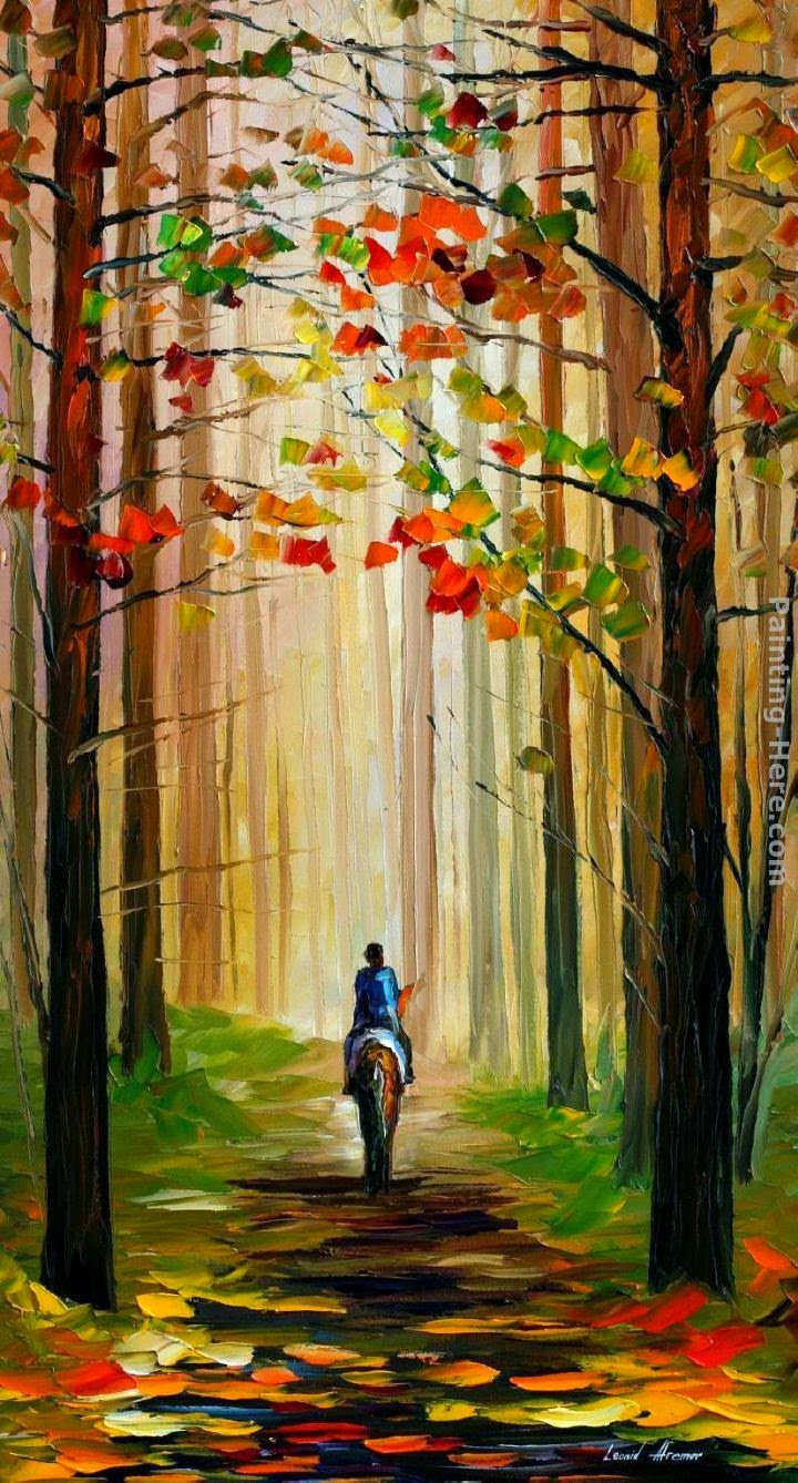 autumn fall painting wallpaper leonid afremov autumn stroll on a horse