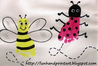 http://www.funhandprintart.blogspot.ca/2009/08/cute-ladybug-footprint-and-adorable-bee.html