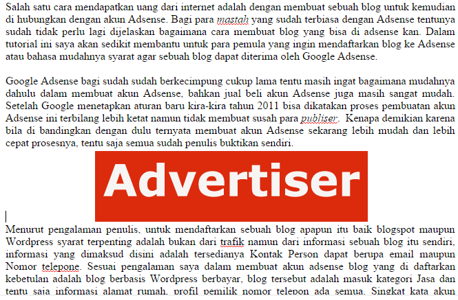 Cara Memasang Iklan Adsense di Postingan Blog Wordpress