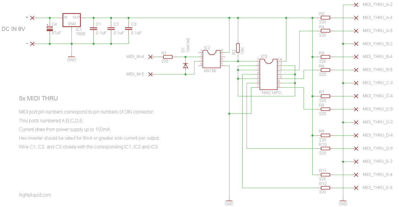 Diy 5x Midi Thru Circuit Schematic Skatronix Electrix 7414 Inverter Oscillator Basic Thang X5 Bout To Build One Of Course Each Port Generates An Exact Replica The Signal On In