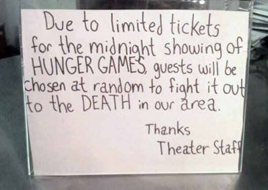 hunger games tickets, funny picture, funny, hunger games movie, win