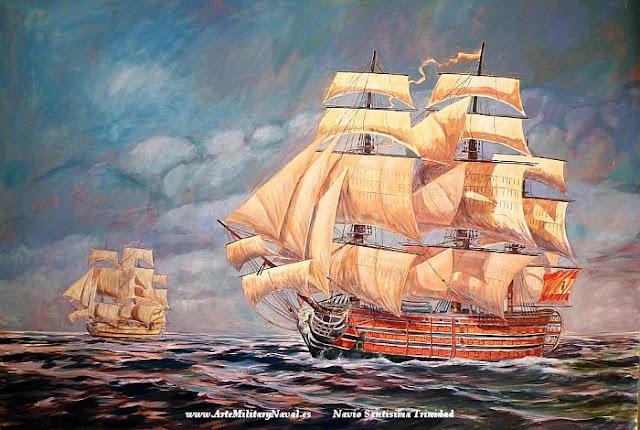 Pintura al oleo del Navío Santisima Trinidad de la Armada Española