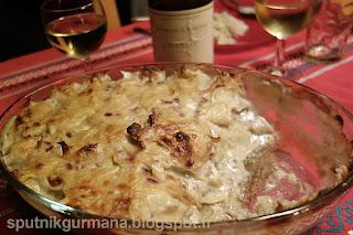 Нежный картофельный гратен с рыбой