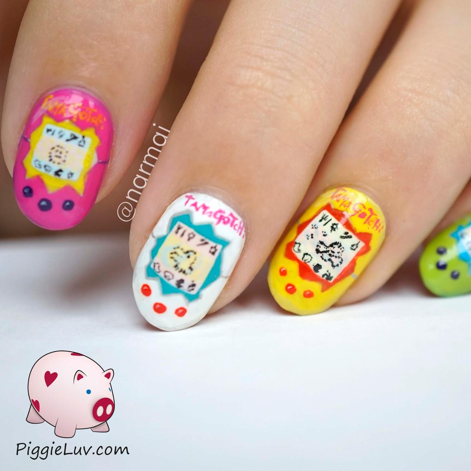 PiggieLuv: Tamagotchi nail art