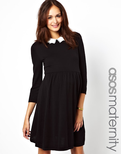 ASOS Maternity Knitted Skater Dress With Peter Pan Collar, Black Dress, Wednesday Addams, long sleeve, retro style, cute, goth