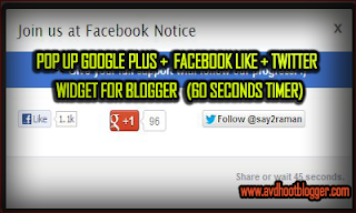 60 Second Timer Pop up Box For Facebook,Twitter and Google plus Widget For Blogger
