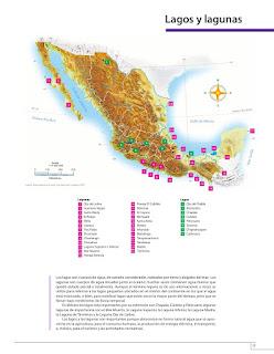 Apoyo Primaria Atlas de México 4to grado Bloque I lección 6 Lagos y lagunas