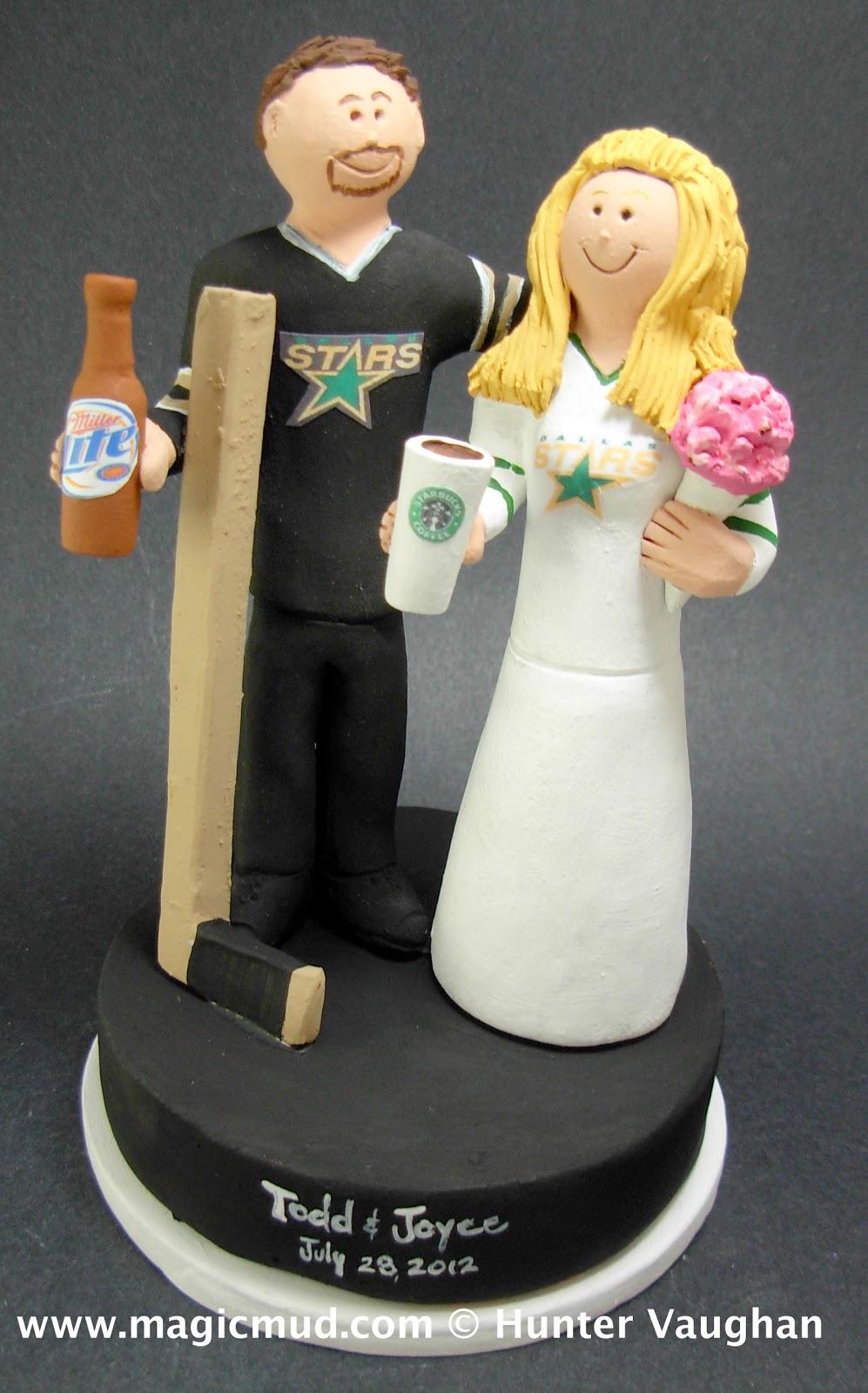 Dallas Stars Hockey Fans Wedding Cake Topper