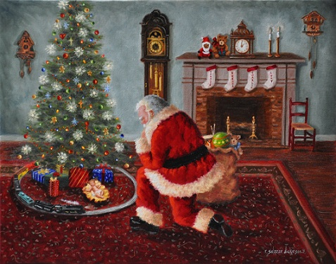 wise men still seek him ii 11 x 14 oil on canvas rita salazar dickerson c 2011 - Santa Claus And Jesus 2