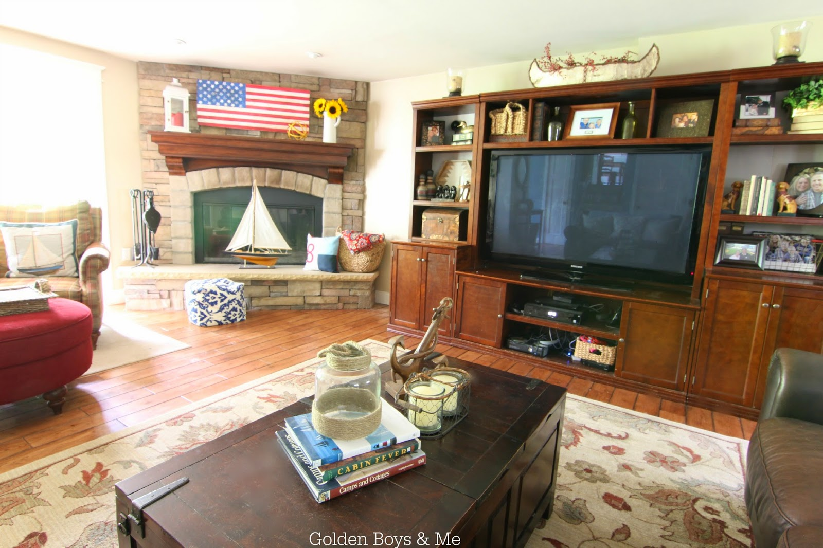 Americana family room with American flag mantel-www.goldenboysandme.com