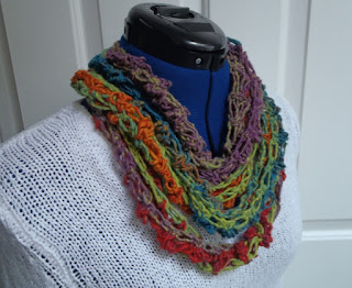 Rainbow Skinny Scarf Crocheted Cowl Infinity Multi colored Ladies Fashion NellywithWings