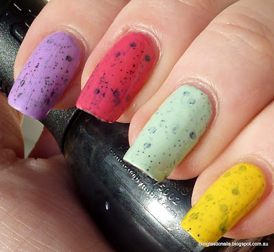 Speckled polish skittles manicure