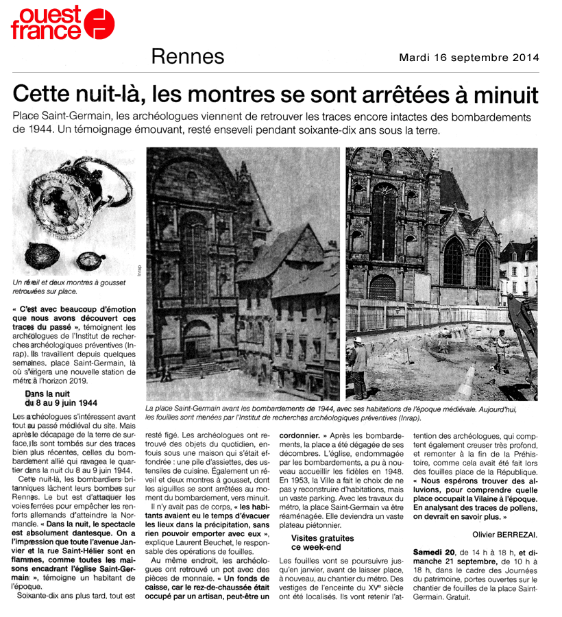 """Article Ouest-France du 16 septembre 2014 : """"Cette nuit-là, les montres se sont arrêtées à minuit"""""""""""