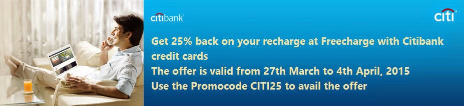 FreeCharge Coupon today: Get 25% cashback