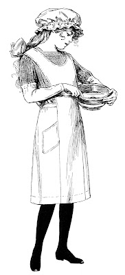 Antique clip art - girl cooking