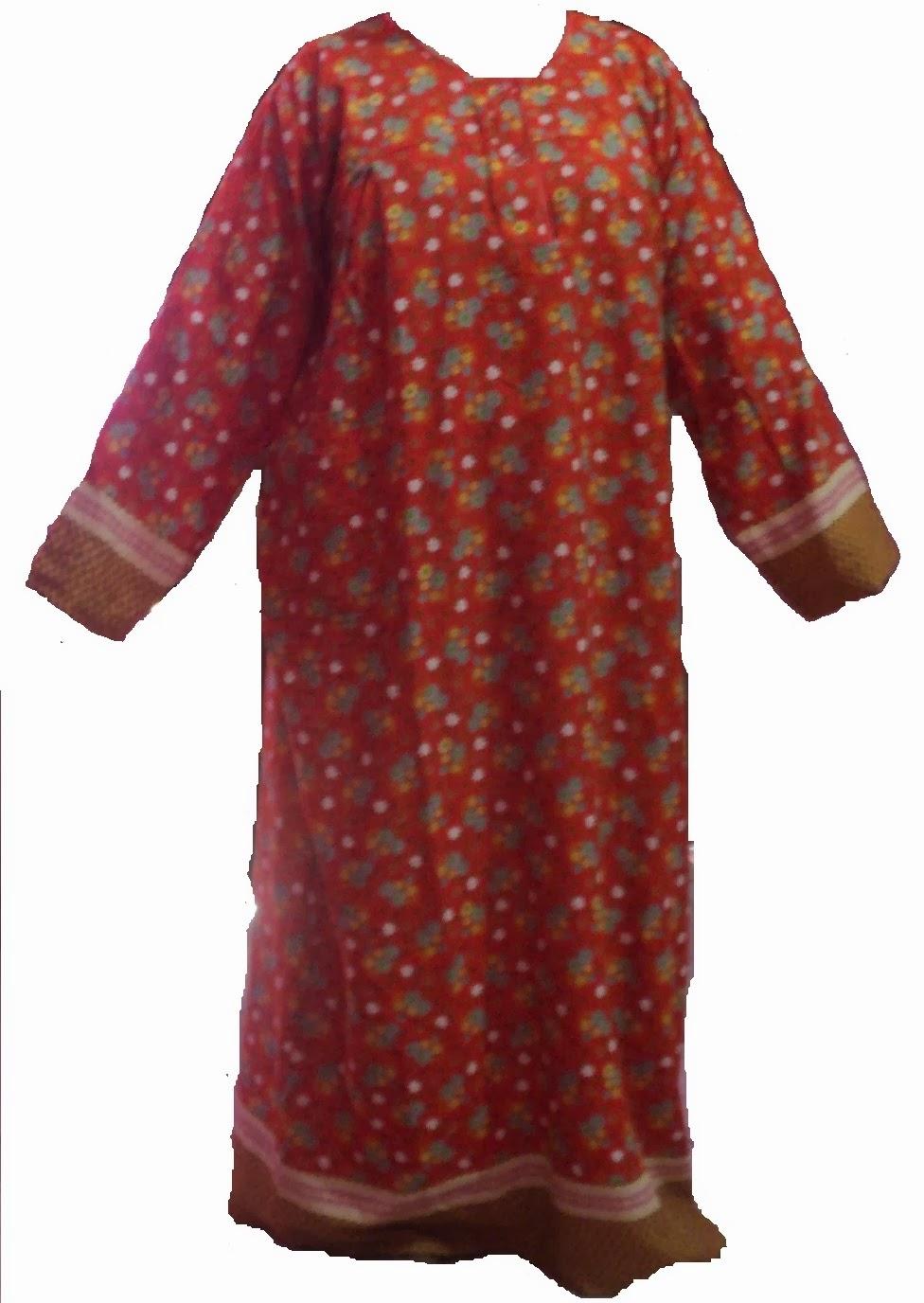 Daster Terusan Batik Longdress Lengan Panjang Long Dress