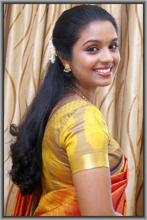 Satin silk saree aunty back 10