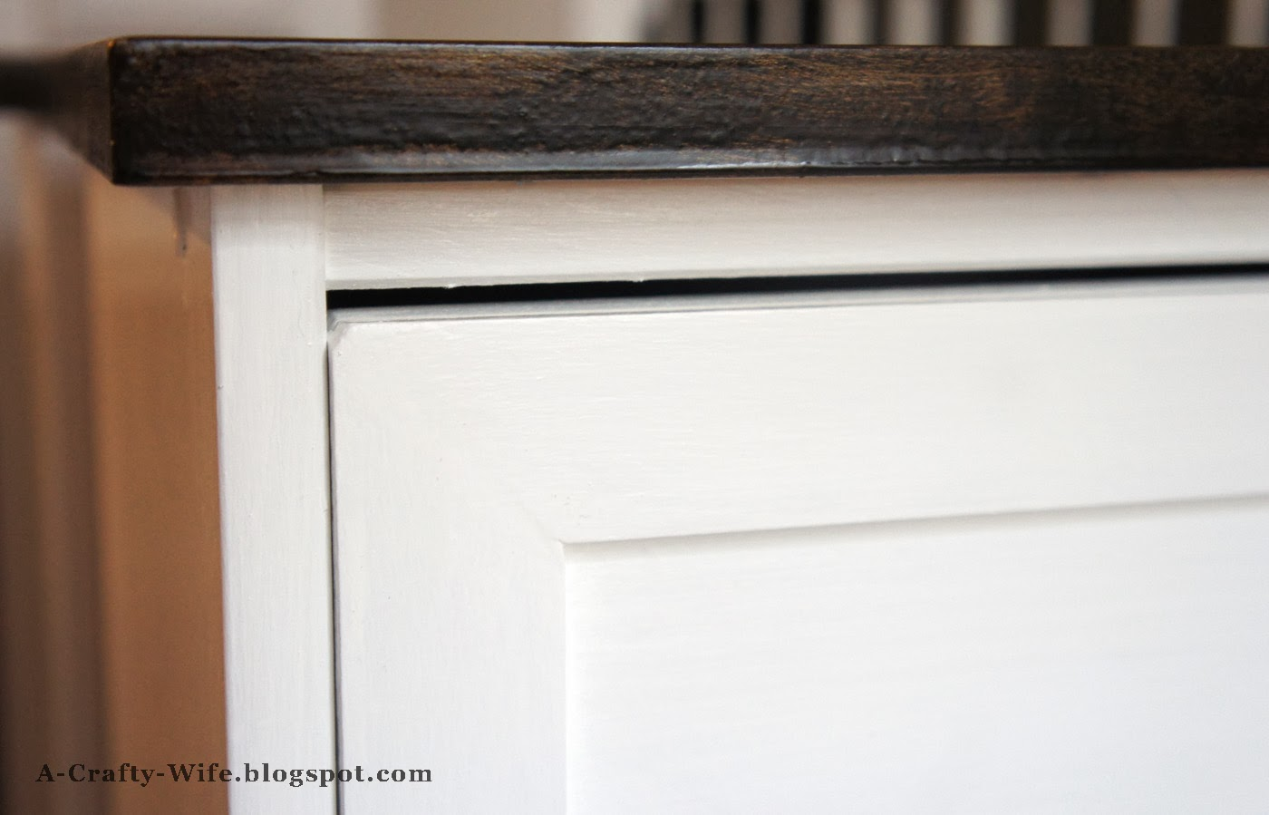 Closeup of Ikea Rast hack - birch plywood top | A Crafty Wife