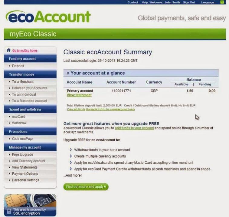 ecoPayz Account Summary Screen