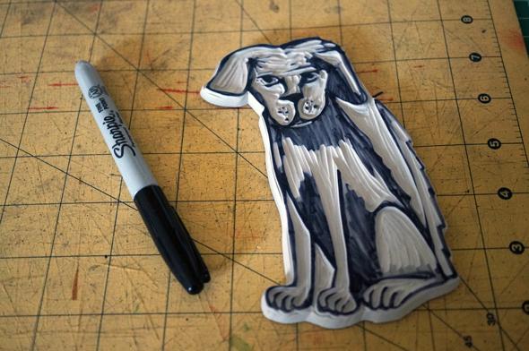 linocut dog puppy