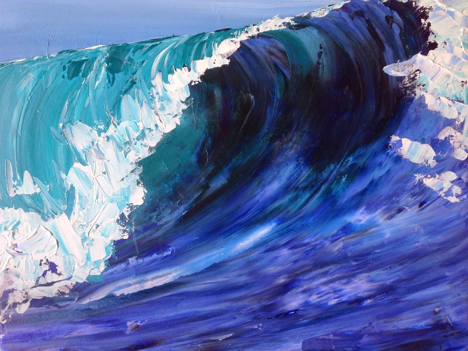 Surf Wave at Teahupo'o Tahiti Acrylic Painting