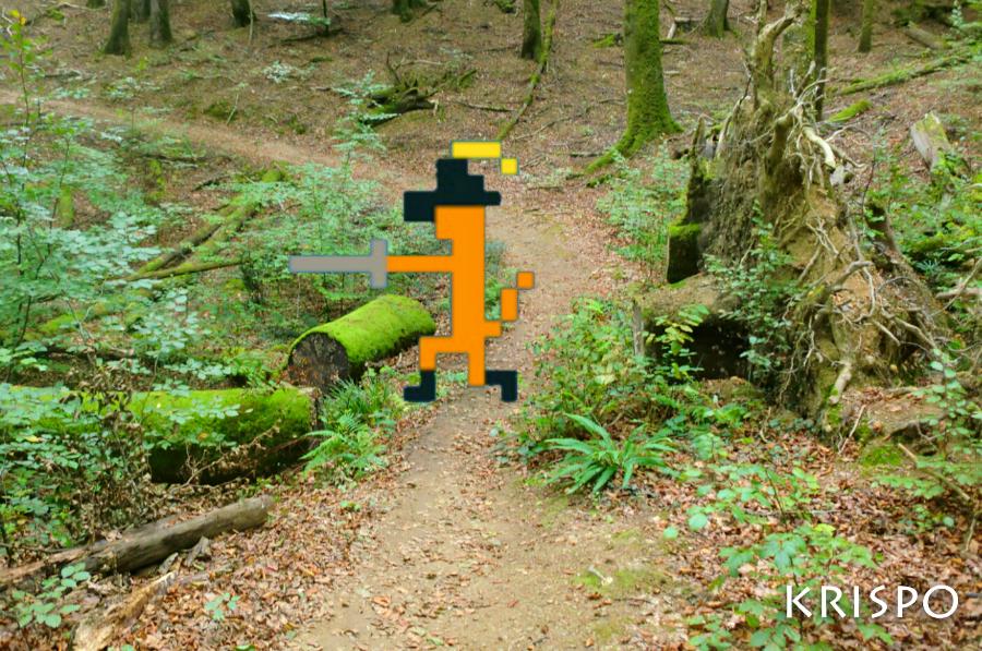 fotomontaje del gato con botas pixelado en el bosque