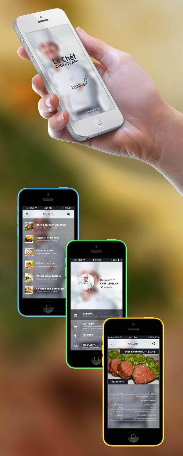 Cooking App Screens UI PSD