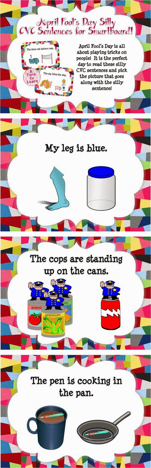 April Fool's Day Silly CVC Sentences (A No-Prep Game for the Smartboard!)