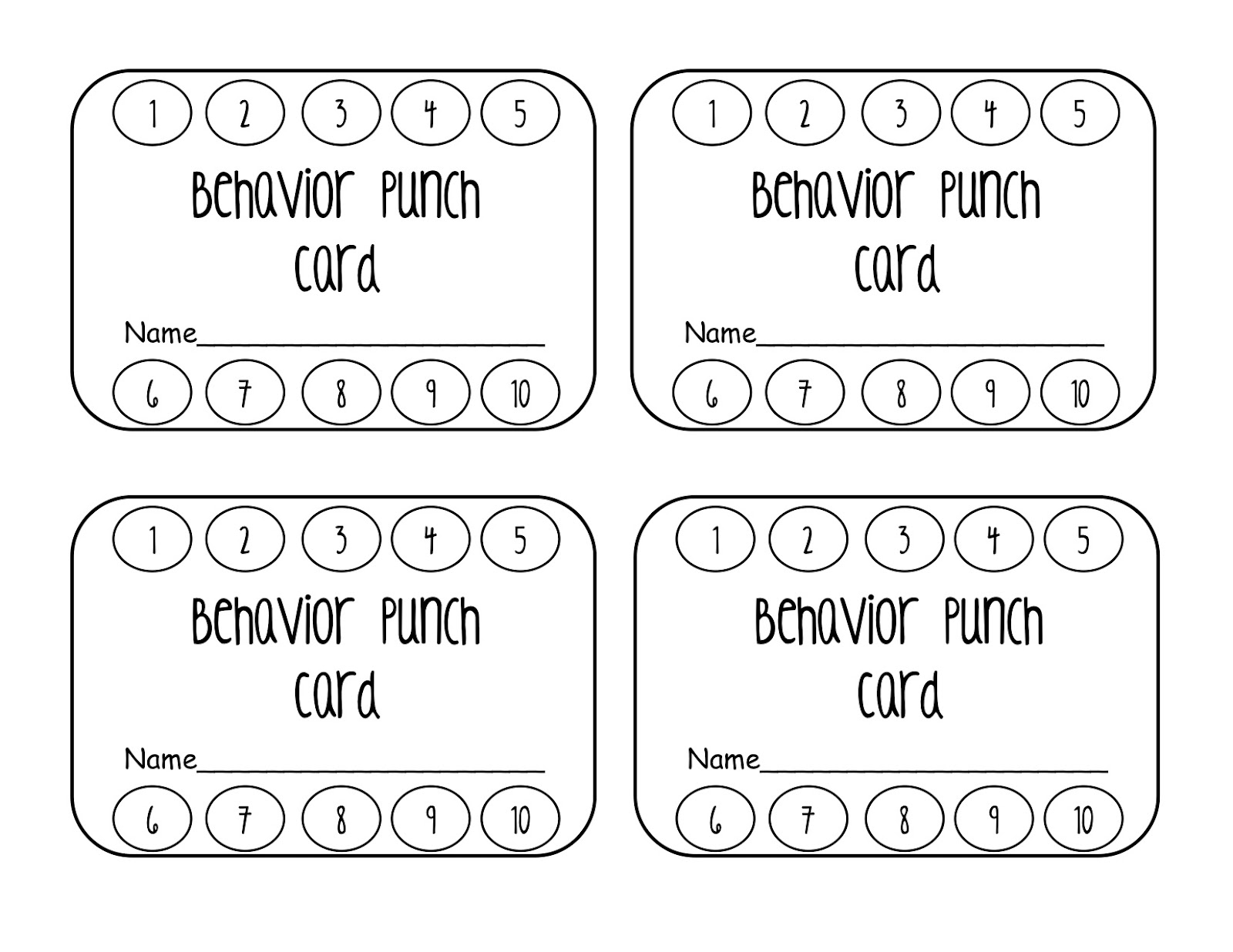 Behavior Punch Card Classroom Freebies - Free editable punch card template