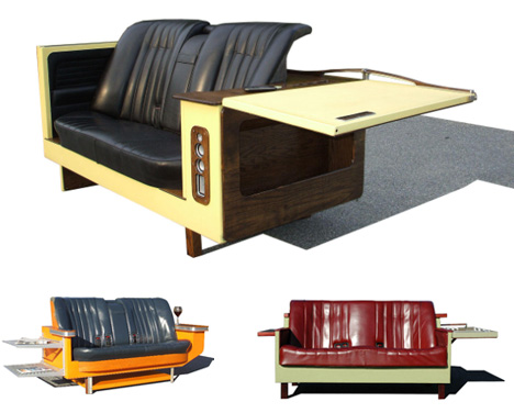 Classic Looking 50's Style Couch Made From A Refridgerator And Leather