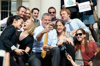 City Hall Press Corps Enjoys a Selfie with Mayor deBlasio