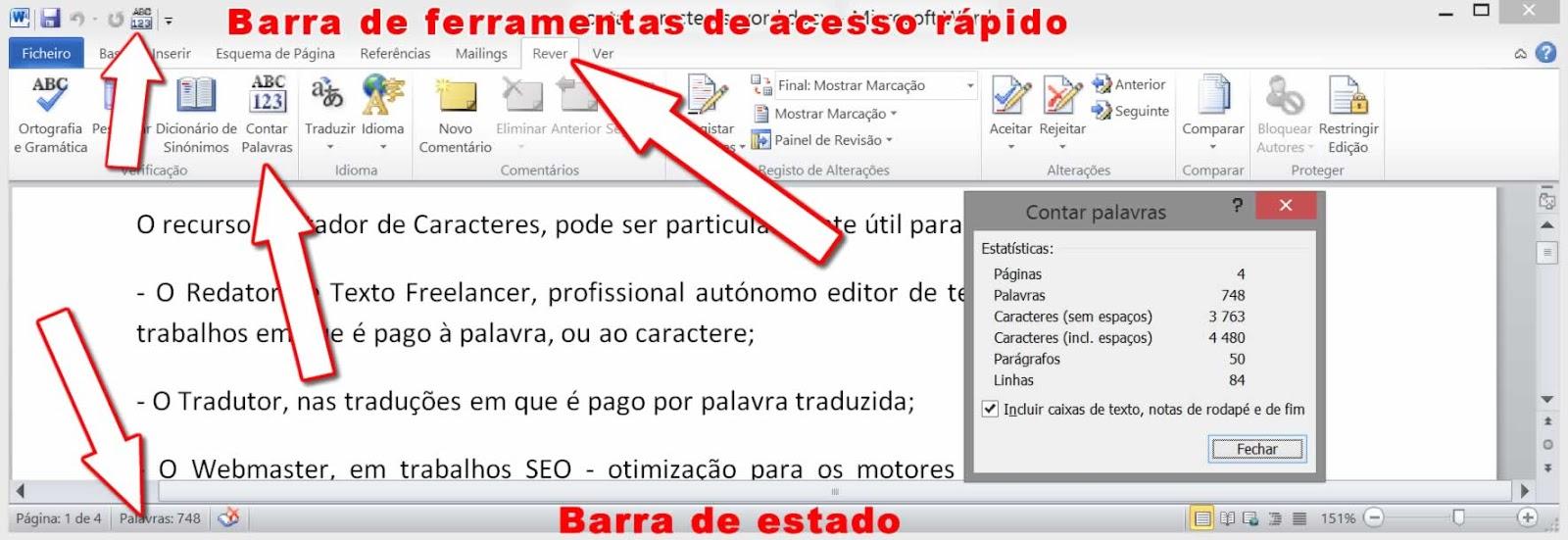 Contar caracteres em documento completo