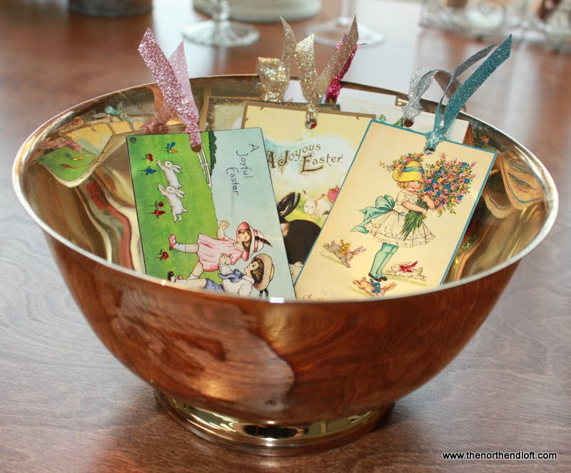 The north end loft printable vintage easter tags and tutorial hanging by ribbons from a spring branch as gifts tucked into an easter basket with a name added for place cards or as old fashioned easter cards negle Choice Image