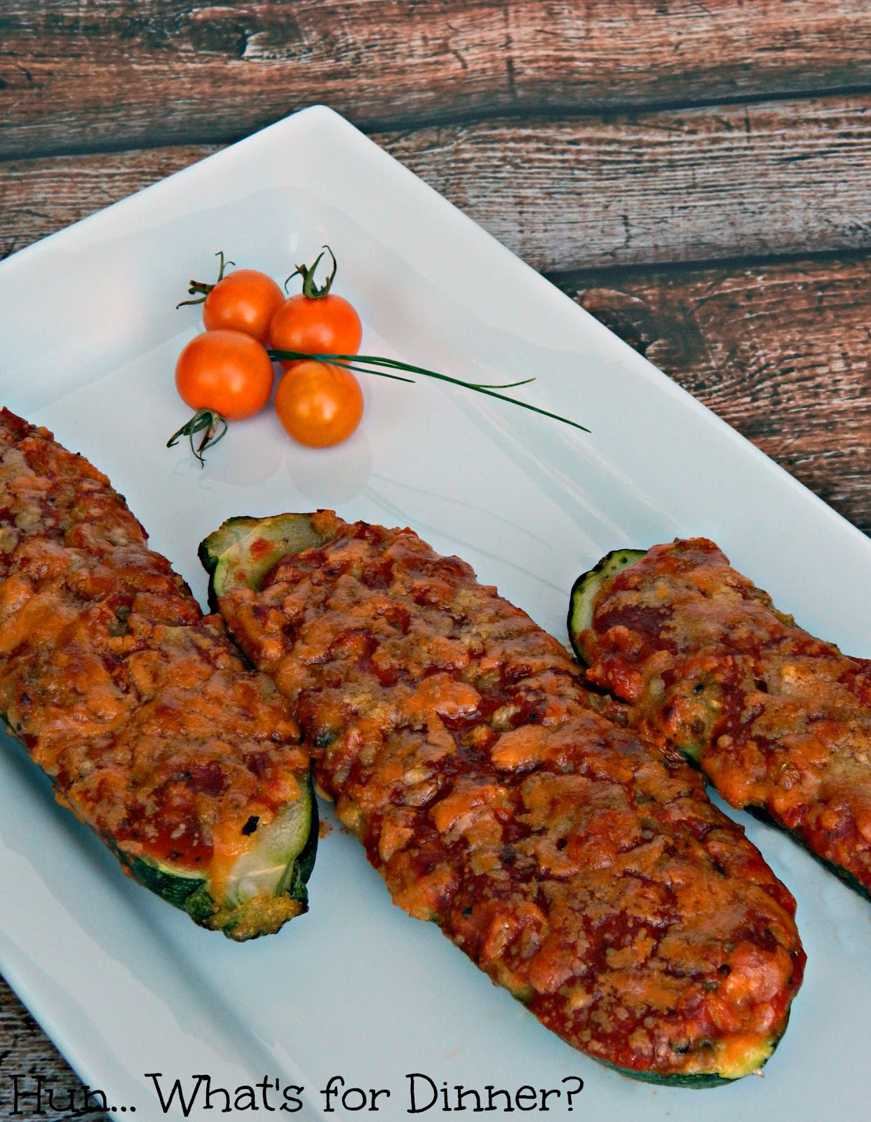 Hun... What's for Dinner?- Ooey Gooey Cheesy Stuffed Zucchini
