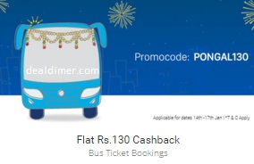 Flat Rs. 130 Cashback on Bus ticket bookings on Rs. 300 - PayTM