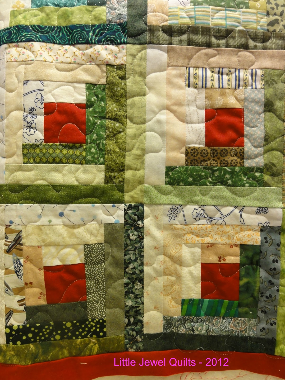 Superb img of Little Jewel Quilts: Log Cabin Quilting with #7D2006 color and 1202x1600 pixels