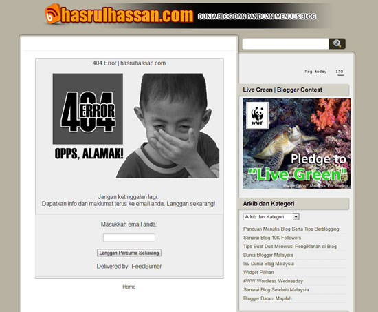 404 Error Page Dalam Blogspot