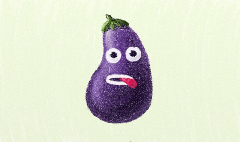 Funny violet eggplant character
