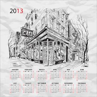 街のスケッチが背景のカレンダー テンプレート 2013 calendars with sketches of city イラスト素材3