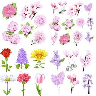 春の花素材集 spring flower templates for your related graphic design イラスト素材