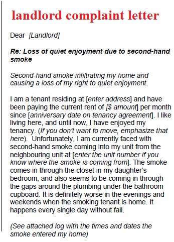 Complaint Letter to Landlord Template