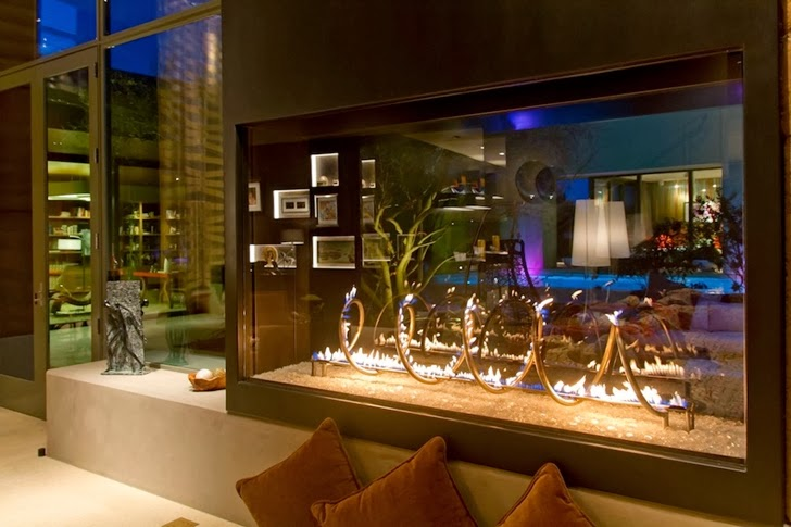 Fireplace in the living room of Multimillion modern dream home in Las Vegas