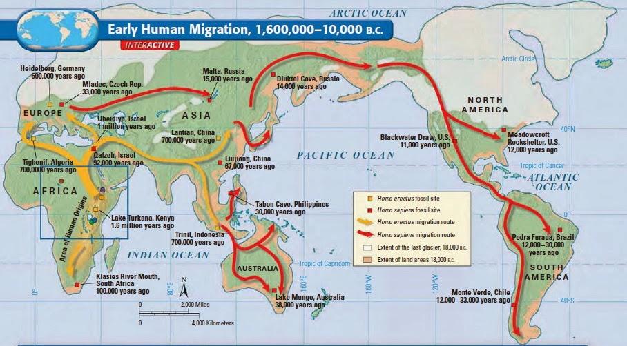 แผนที่แสดงว่าบรรพบุรุษมนุษย์กำนเนิดในแอฟริกา