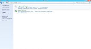 Uninstalling Internet Explorer - Control Panel View