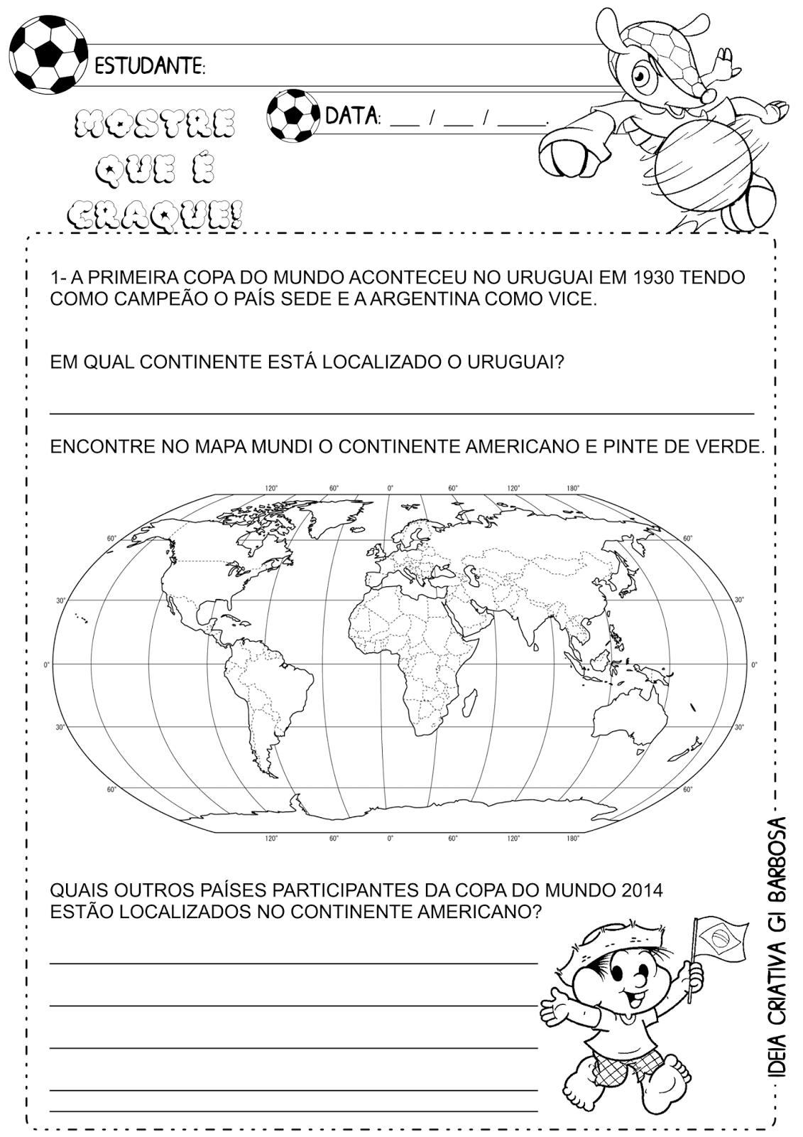 Atividade Copa  do Mundo Continente Americano
