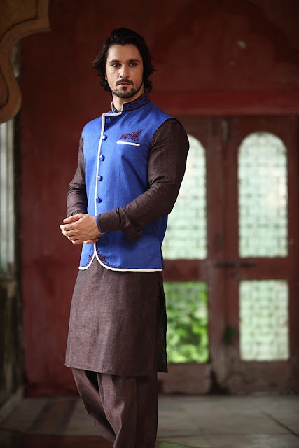 Brown Linen Pathani Suits With Blue Half Jacket