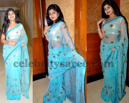 Alekya in Transparent Saree