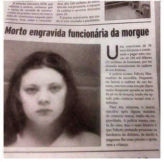Mulher estupra defunto e engravida do falecido