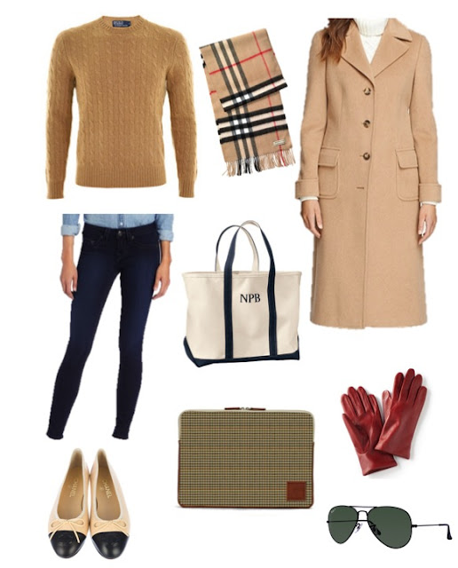 Camel coat, red leather gloves, cashmere cable knit and barrington gifts laptop case
